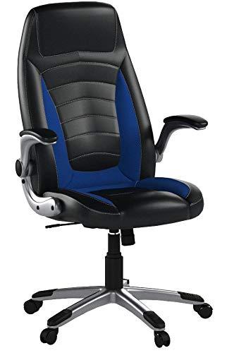Bürostuhl, Ergonomischer Schreibtischstuhl, Bürodrehstuhl mit Hoher Rückenlehne und gepolsterten Armlehnen, 360°verstellbarer Chefsessel, Höhenverstellung und Wippfunktion für Büroarbeit