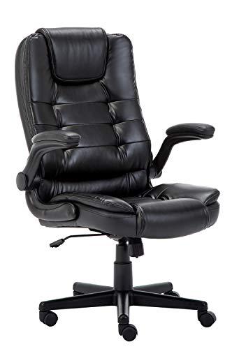 Bürostuhl , Schreibtischstuhl ergonomischer Chefsessel mit gepolsterten Armlehnen,Bürodrehstuhl mit Rückenlehne ,360°Höheverstellbar Kunstleder Drehstuhl Belastbarkeit bis 150kg ,Schwarz