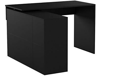 CARO-Möbel Eckschreibtisch Diego Bürotisch Arbeitstisch mit Regal, 120 x 75 x 122 cm in schwarz, 1 Schublade, 4 Fächer Verschiedene Aufbaumöglichkeiten