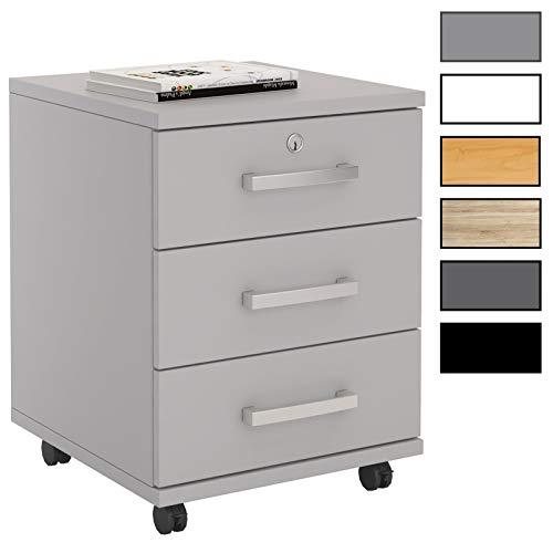 CARO-Möbel Rollcontainer Bürocontainer Büroschrank Vancouver, in 4, abschließbar mit 3 Schubladen, 44 x 58 x 45 cm
