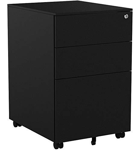 COSTWAY Rollcontainer mit 3 Schubladen, Abschließbarer Büroschrank, Aktenschrank Büromöbel Bürocontainer, 39x48x60cm, Farbwahl