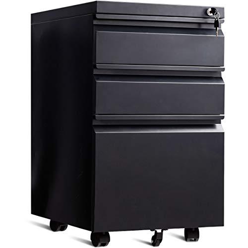 COSTWAY Rollcontainer mit 3 Schubladen, Büroschrank Metall, Aktenschrank abschließbar, Bürocontainer mit Kippschutzrad