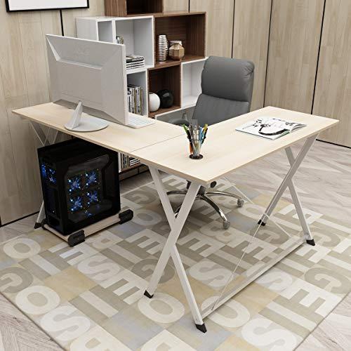 DlandHome L-Förmigen Computer Schreibtisch Eckschreibtisch 120cm + 110cm, Komposit Holz und Metall, Home Office PC Laptop Studie Workstation Ecktisch mit CPU-Ständer