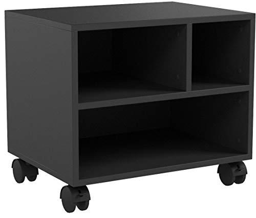 FITUEYES Bürocontainer Multifunktionswagen Druckerständer aus Holz schwarz