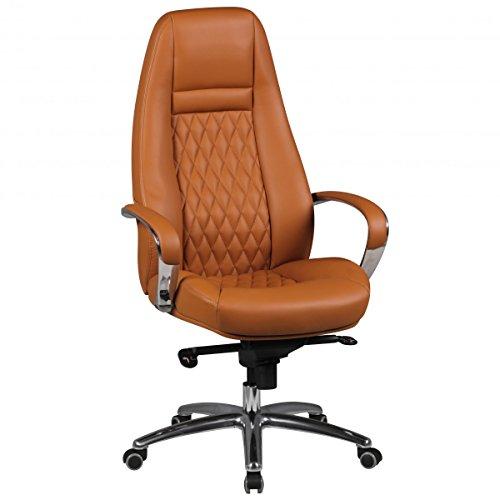 FineBuy Bürostuhl Echtleder Schreibtischstuhl Chefsessel Drehstuhl mit Synchronmechanik