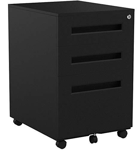 Flexispot Rollcontainer, inkl. 3 Schübe, grundsolide Verarbeitung, optimal für Schreibtisch, Büromöbel, Aktenschränke, Büro-Rollcontainer, Bürocontainer mit Schubladen für A4, Hängeregistratur