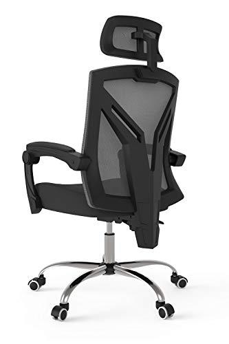 Hbada ergonomischer Bürostuhl mit Kopfstütze Drehstuhl Chefsessel mit Verstellbarer Kopfstütze Rückenlehne Höhenverstellung Neigungsverstellung