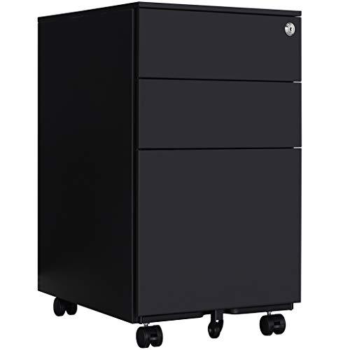 Loywe Aktenschränke,Schrankkorpus Vormontiert, Rollcontainer Büro-Rollcontainer mit Anti-umkippen-mechanismus, Bürocontainer mit 3 Schublade für A4, JLB020