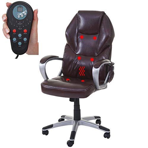 Mendler Massage-Bürostuhl HWC-A69, Drehstuhl Chefsessel, Heizfunktion Massagefunktion Kunstleder