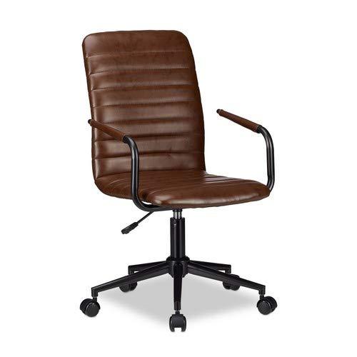 Relaxdays Bürostuhl, höhenverstellbarer Drehstuhl, Kunstleder, bequem, 120 kg belastbar, HxBxT: 101 x 60 x 60 cm, braun