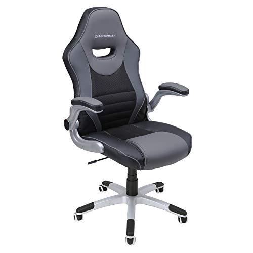 SONGMICS Bürostuhl, mit klappbaren Armlehnen, ergonomischer Drehstuhl, Tragfähigkeit 150 kg