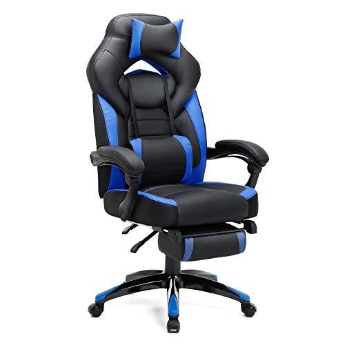 SONGMICS Gamingstuhl, Bürostuhl mit Fußstütze, Schreibtischstuhl, ergonomisches Design, verstellbare Kopfstütze, Lendenstütze, bis zu 150 kg belastbar