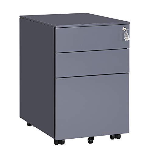 SONGMICS Stahl Rollcontainer mit 3 Schubladen und Hängeregistratur Abschließbarer Büroschrank