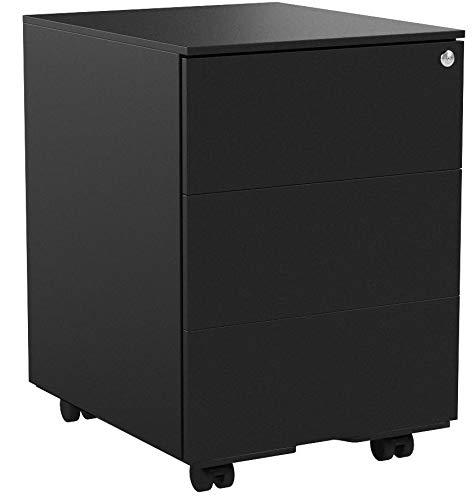 SONGMICS Stahl Rollcontainer, mobiler Aktenschrank, abschließbar, mit 3 Schubladen, Aufbewahrung von Akten, Büroutensilien, vormontiert, Büro, Home Office