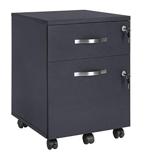 VASAGLE Rollcontainer, abschließbar, Aktenschrank mit 2 Schubladen