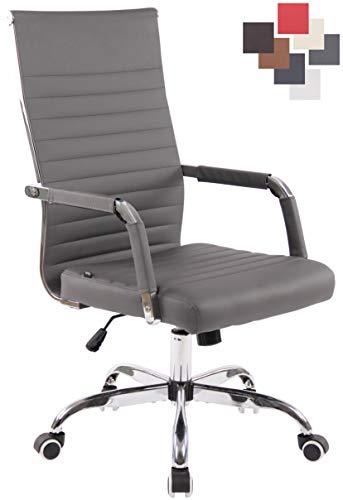 CLP Bürostuhl Amadora Kunstleder Mit Leichtlaufrollen | Chefsessel Mit Lehne | Höhenverstellbarer Ergonomischer Bürosessel