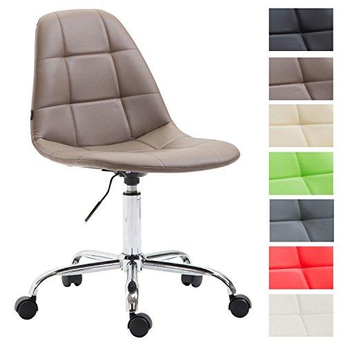 CLP Bürostuhl Reims mit Kunstlederbezug I Schreibtischstuhl mit Laufrollen und gestepptem Sitz I Höhenverstellbarer Drehstuhl I erhältlich