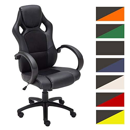 CLP Gaming Bürostuhl FIRE mit Kopstütze und hochwertiger Polsterung | Der höhenverstellbare Drehstuhl verfügt über eine Wippfunktion und Armlehnen | Schreibtischstuhl mit pflegeleichtem Kunstlederbezug | In verschiedenen Farben erhältlich