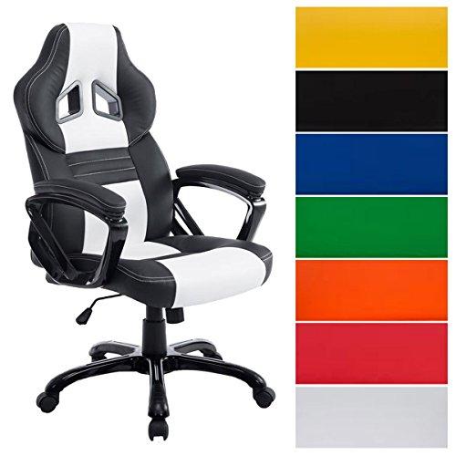 CLP Racing Bürostuhl Pedro XL, Gaming Stuhl mit Kunstleder-Bezug, höhenverstellbar 46-56 cm, max. belastbar bis 150 kg, Chefsessel mit hochwertiger Polsterung