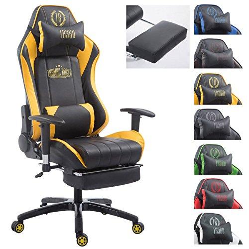 CLP XL Racing Bürostuhl Shift X2 mit Kunstlederbezug l Höhenverstellbarer Drehstuhl mit und ohne Fußstütze l Gamingstuhl mit Laufrollen