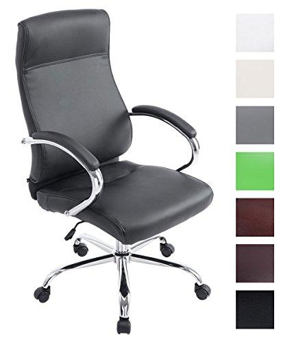CLP XXL Bürostuhl Lausanne mit Kunstlederbezug | Höhenverstellbarer Schreibtischstuhl mit gepolsterten Armlehnen | Drehstuhl mit Metallgestell und Laufrollen