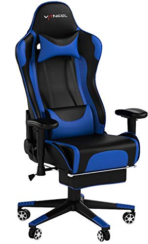 EAVANCEL VANCEL Computer Gaming Chair Racing Style with Footrest Ergonomic High Back Swivel Home Office Chair with Headrest and Lumbar Massage Support (orange)