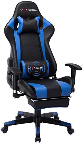 Ergonomischer Computer Gaming Stuhl, PU Leder große Rückenlehne in Racing Design mit breiten Rückenkissen, ausziehbahre Fußlehne und Massagegerät in Taillenbereich einfach mit den PC verknüpfen.