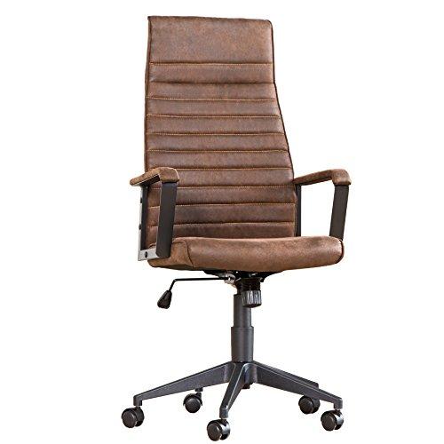 Invicta Interior Moderner Design Bürostuhl Lazio Highback Microfaser Vintage braun Chefsessel mit Armlehnen Drehstuhl Stuhl mit Rollen