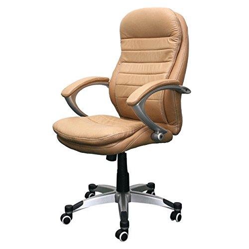 Jet-Line Echtleder Bürostuhl Rom beige Büro Ausstattung Leder Chef Sessel Stuhl Drehstuhl Büroausstattung