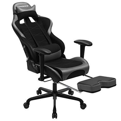 SONGMICS Gaming Stuhl mit Fußstütze, 150 kg, Bürostuhl, Schreibtischstuhl, Lendenkissen, Kopfkissen, hohe Rückenlehne, ergonomisch, Stahl, Kunstleder, atmungsaktives Meshgewebe