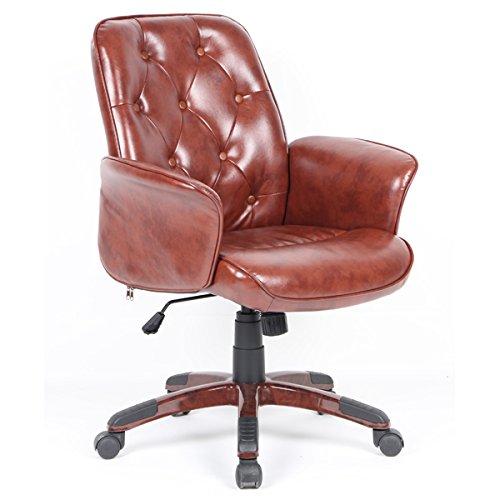Sessel Trolley Chefsessel Bürostuhl, Computer verstellbar aus PU Leder mit 5Rollen drehbar Nachhaltige braun