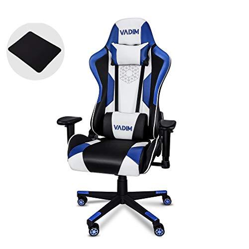 VADIM Gaming Stuhl Bürostuhl Schreibtischstuhl Hohe Rückenlehne Chefsessel Kunstleder Drehstuhl mit Kopfstütze Lordosenstütze Kissen, Armlehne Verstellbar, Höhenverstellbar