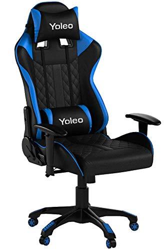 YOLEO Gaming Stuhl, bequemer Gaming Sessel 150 kg Belastbarkeit, Kunstleder PC Stuhl drehbar höhenverstellbar Gaming Chair mit Kopfstütze