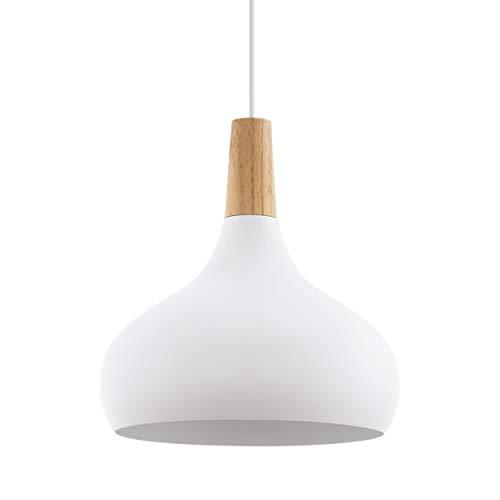 EGLO Pendellampe Sabinar, 1 flammige Pendelleuchte, Hängelampe aus Stahl und Holz, Farbe: Weiß, braun, Fassung: E27, Ø: 28 cm