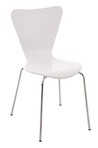 CLP Konferenzstuhl Calisto mit Holzsitz und stabilem Metallgestell I Platzsparender Stuhl mit Einer Sitzhöhe von: 45 cm, Farbe:weiß