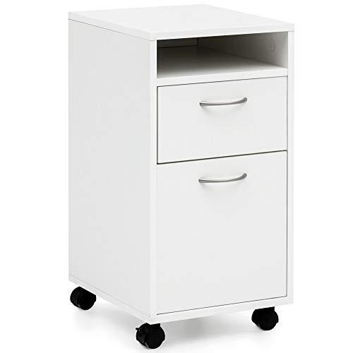FineBuy Rollcontainer FB14690 Weiß 33x63x38 cm Schreibtisch-Unterschrank Holz | Roll-Kommode Modern | Bürocontainer Schubladenschrank mit Tür | Kleiner Schreibtischschrank mit Rollen