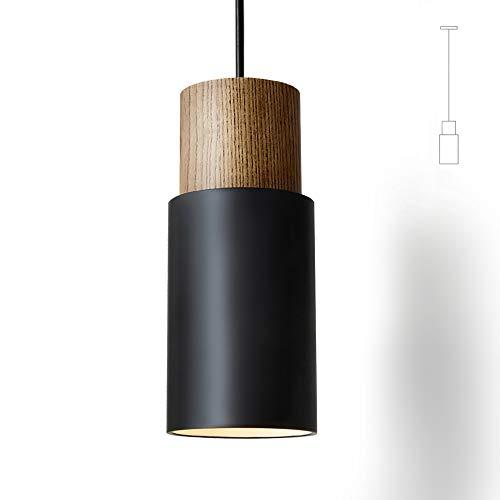Matieres Pendelleuchte Vintage Hängelampe Aluminium Hängeleuchte E27 Leuchtmittel 60W Schwarz 1 Stück für Wohnzimmer Esszimmer Restaurant