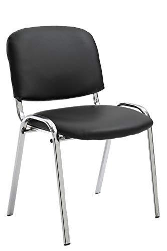 CLP Konferenzstuhl Ken Chrom mit hochwertiger Polsterung und Kunstlederbezug I Stapelstuhl mit robustem Metallgestell in Chromoptik, Farbe:schwarz