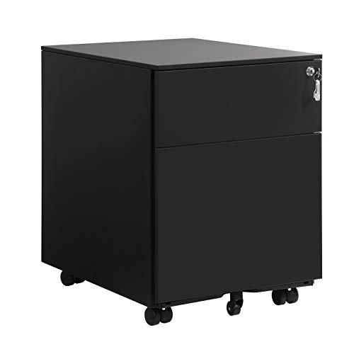 SONGMICS Stahl Rollcontainer mit 2 Schubladen und Hängeregistratur abschließbarer Büroschrank, Schrankkorpus vormontiert, 39 x 54 x 52 cm Schwarz OFC50BK