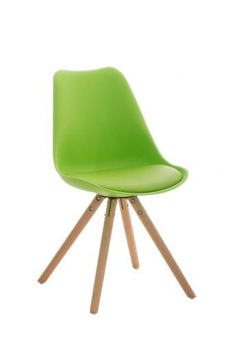CLP Retrostuhl PEGLEG mit hochwertiger Polsterung und Kunstlederbezug I Schalenstuhl mit Holzgestell und Einer Sitzhöhe von: 46 cm, Farbe:grün, Gestell Farbe:Natura