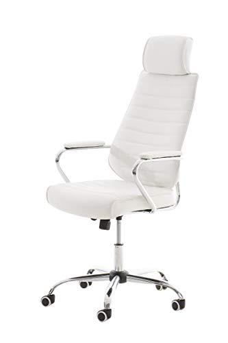 CLP Bürostuhl RAKO mit Kopfstütze und Laufrollen | Höhenverstellbarer Schreibtischstuhl mit Kunstlederbezug Weiß
