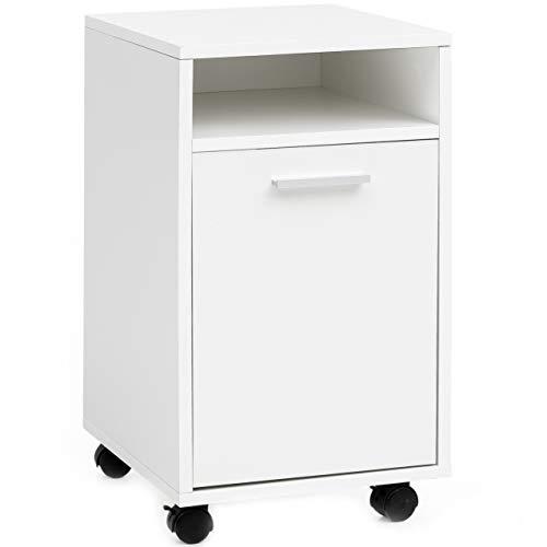 FineBuy Rollcontainer FB16397 Weiß 33x60x38cm Schubladenschrank Büro Container | Schreibtischcontainer mit Tür & Ablage | Bürocontainer Beistellcontainer mit Rollen | Kleiner Schubladencontainer