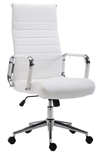 CLP Drehstuhl KOLUMBUS mit Kunstlederbezug I Chefsessel mit stufenloser Sitzhöhenverstellung I Bürosessel mit Laufrollen, Farbe:weiß