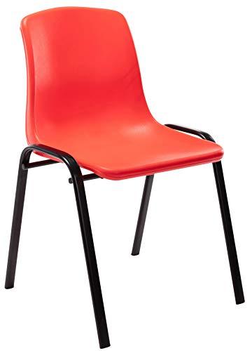 CLP Stapelstuhl Nowra Kunststoff I Kunststoffstuhl Mit Metallgestell I Konferenzstuhl Mit Rückenlehne, Farbe:rot