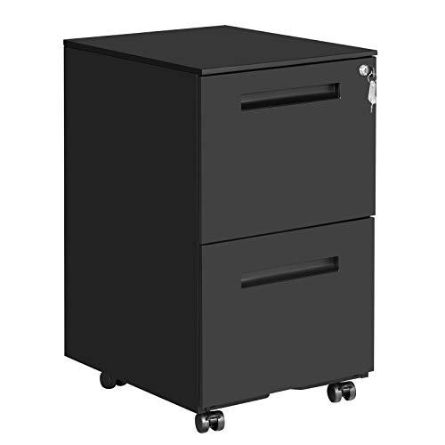 SONGMICS Rollcontainer, mobiler Aktenschrank mit 2 Schubladen, abschließbar, für Bürodokumente, vormontiert, 39 x 50 x 69,5 cm (L x B x H), Mattschwarz OFC52BK