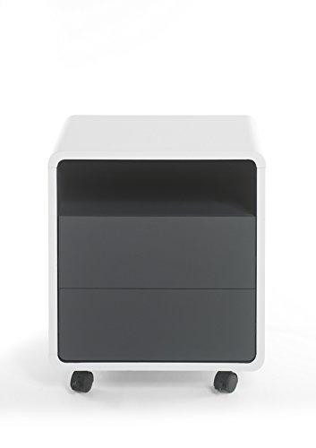 Robas Lund Bürocontainer Weiß Matt-Anthrazit Schreibtischcontainer, Tadeo BxHxT 47 x 55 x 38 cm