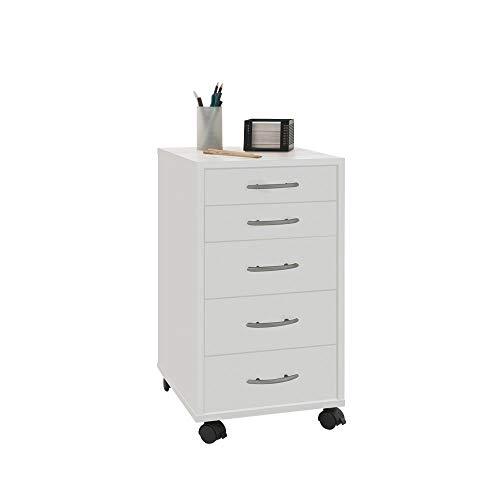 FMD furniture 336-001E, Beistellcontainer in Ausführung Weiß, Maße ca. 33 x 63,5 x 38 cm (BHT), Melaminharz beschichtete Spanplatte