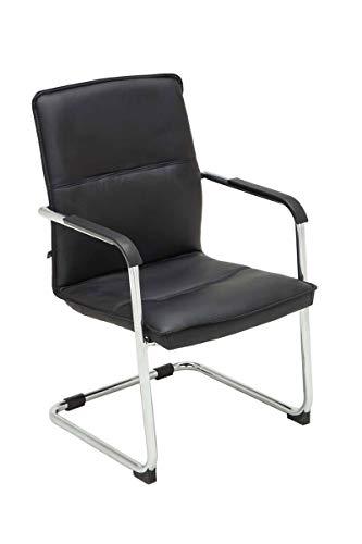 CLP Freischwinger Seattle mit Armlehne I Konferenzstuhl mit hochwertiger Polsterung und Kunstlederbezug, Farbe:schwarz