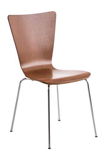 CLP Stapelstuhl AARON ergonomisch geformter Konferenzstuhl mit Holzsitz und stabilem Metallgestell | Platzsparender Stuhl mit pflegeleichter Sitzfläche | In verschiedenen Farben erhältlich Braun