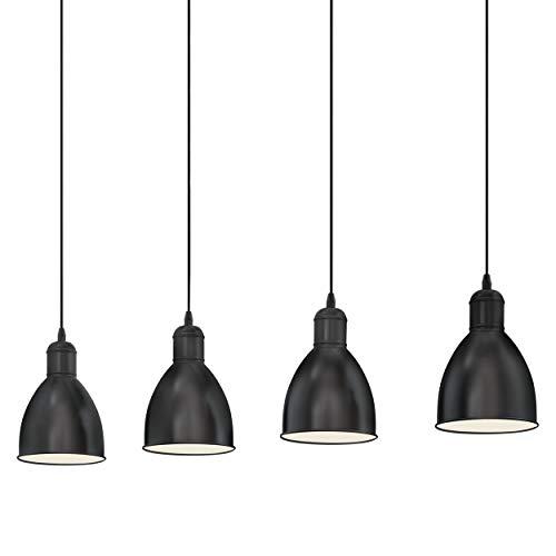 EGLO Pendellampe Priddy, 4 flammige Vintage Pendelleuchte im Industrial Design, Retro Hängelampe aus Stahl, Farbe: schwarz, weiß, Fassung: E27